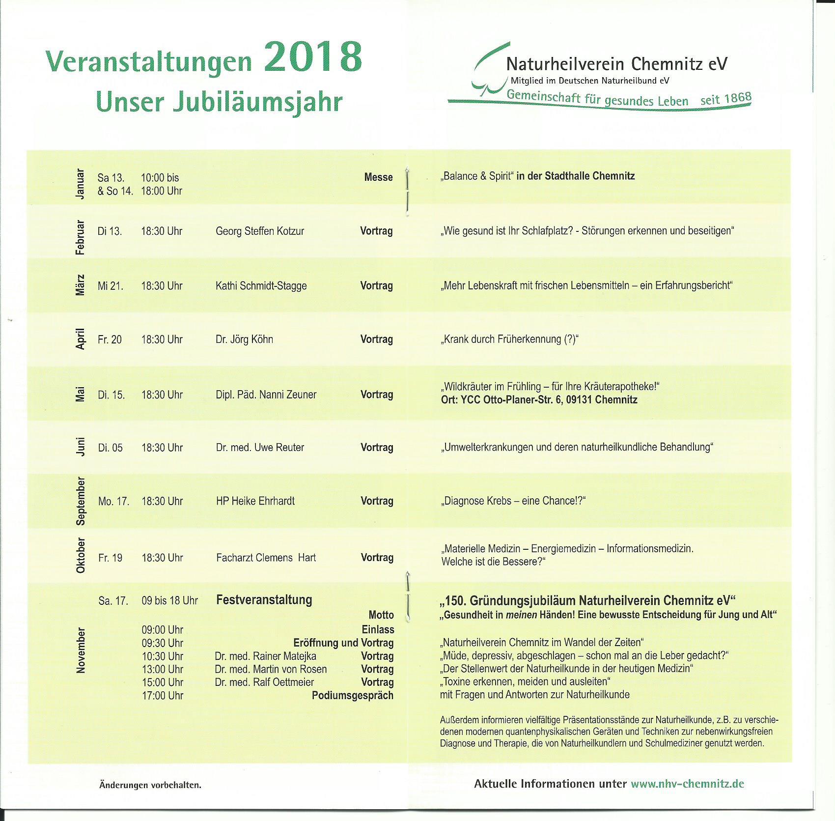 Im Jubiläumsjahr Veranstaltungsprogramm für das Jahr 2018
