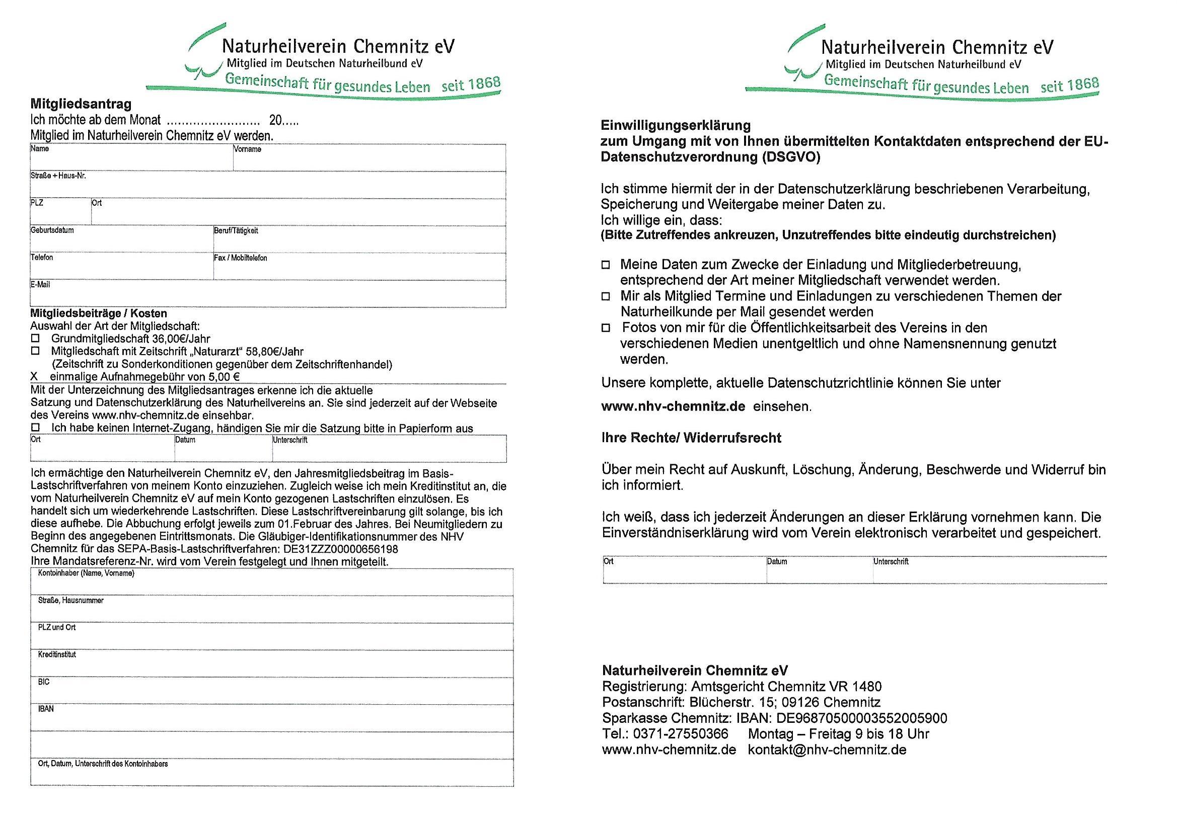 Mitgliedsantrag Einwilligungserklärung